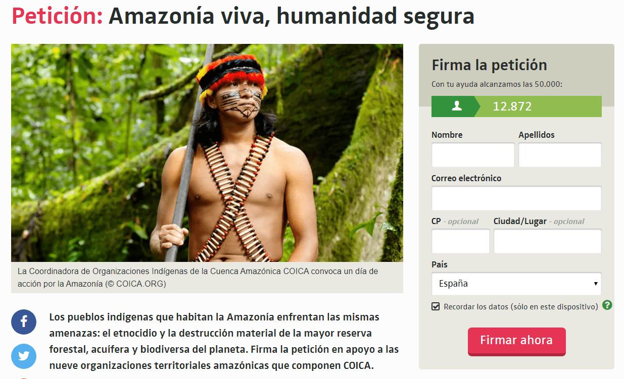 Recolección de Firmas: Amazonia Viva, Humanidad Segura