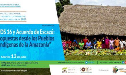 HLPF 2021: Organizaciones indígenas demandan un proceso participativo e inclusivo en la COP del Acuerdo de Escazú